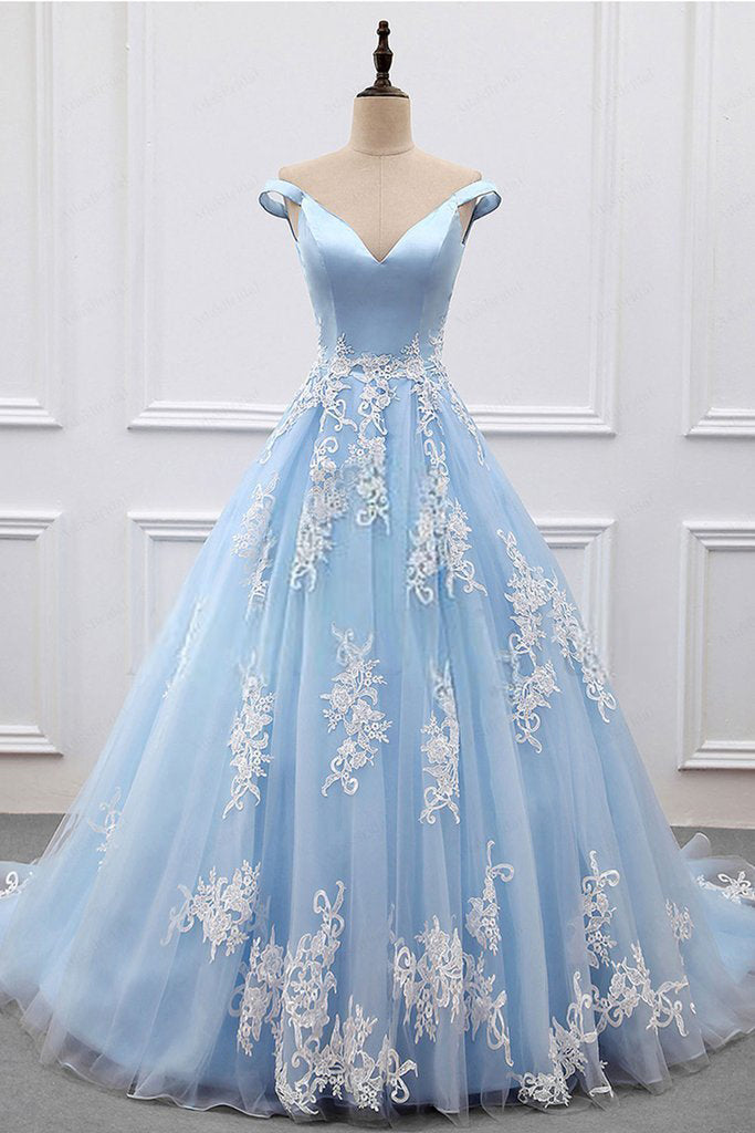 2018 Sky Blue Appliques Charming Ball Gown Off-the-Shoulder V-Neck Prom Dresses uk PM573