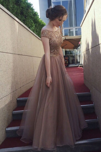 Gorgeous A-Line Backless Cap Sleeves Scoop Tulle Brown Long Prom Dresses UK PH424