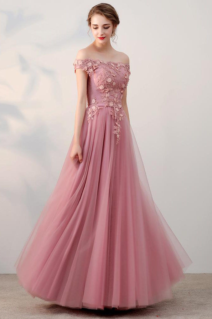 109f7fc93fbb Chic A-Line Off-the-Shoulder Pink Appliques Tulle Long Prom Dresses uk –  PromDress.me.uk