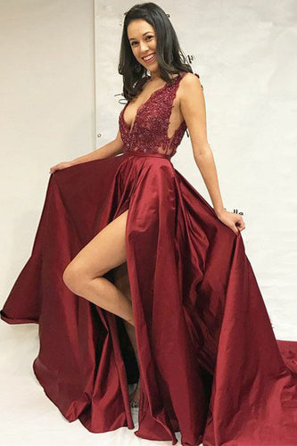 Simple A-Line Deep V-Neck Sweep Train Split Burgundy Satin Lace Prom Dresses UK PH329