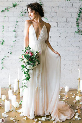 Simple Deep V-neck Sweep Train Chiffon Spaghetti Strap Ivory Wedding Dresses With Straps PM508