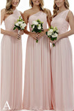 Long Light Pink Mismatched A-Line One Shoulder Sleeveless Elegant Bridesmaid Dresses PM523