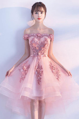 Pink Lace Tulle Short Prom Dress,Off-the-Shoulder Appliques Lace up Homecoming Dresses PH407