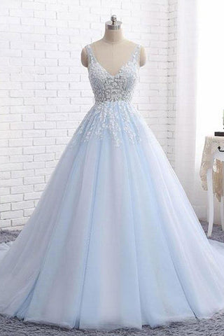 Sexy Ball Gown Tulle Sky Blue V-neck Appliques Brush Train Long Sleeveless Prom Dresses UK PH505