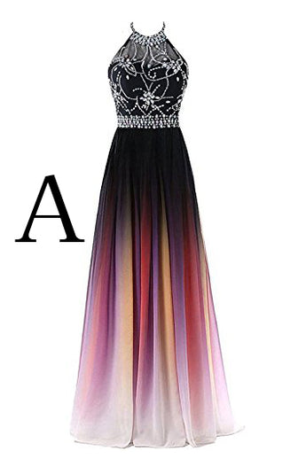 Elegant A-Line Halter Gradient Chiffon Long Ombre Beads Lace up Prom Dresses UK PH363