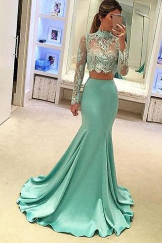 Pretty Two Pieces High Neck Long Sleeve Lace Prom Dress, Sexy Mermaid Prom Dresses uk PM682
