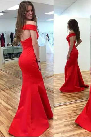 2017 Mermaid Red Elegant Sweetheart Off Shoulder Satin Corset Open Back Prom Dresses uk PM194