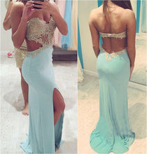 Sexy Slit Long Sweetheart Backless Strapless Green Mermaid Beads Prom Dresses uk PM973