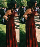Fashion Long V-Neck Two Piece Floor Length A-Line Sleeveless Halter Prom Dresses uk PM765