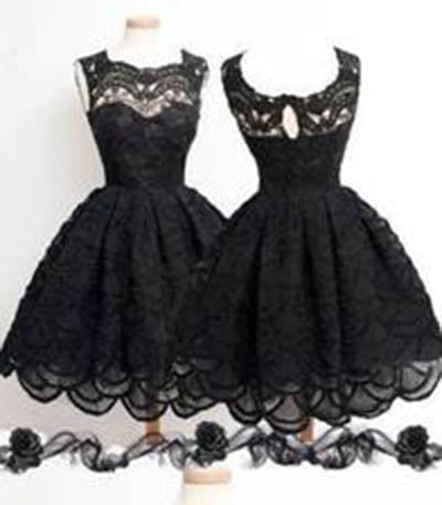 Knee-Length Black Elegant Homecoming Dress,Homecoming Dress For Juniors And Teens,PD0017
