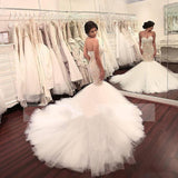 Stunning Mermaid Strapless Sweetheart Tulle Wedding Dresses with Appliques, Wedding Gowns W1169