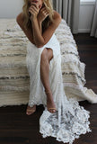 Romantic Boho Backless Lace Mermaid Elegant Ivory Wedding Dress PW151