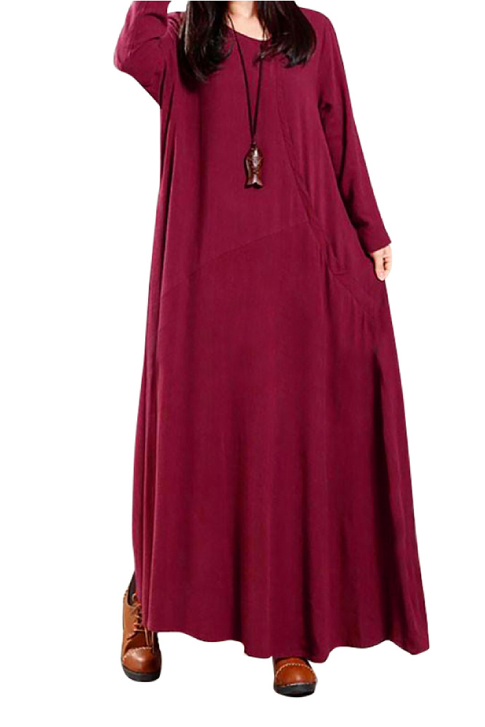 Long Dress Crew Neck Long Casual Dress FP6017