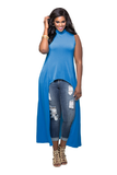 Blue Sleeveless Long Casual Dress FP6005