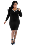 Black Plus Size Sheath Formal Dress FP6003