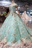 Elegant Ball Gown Cap Sleeve Lace up Scoop with Lace Appliques Beads Prom Dresses PW789
