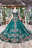 Simple Green Satin Short Sleeve Ball Gown Lace up with Applique Beads Prom Dresses PW792