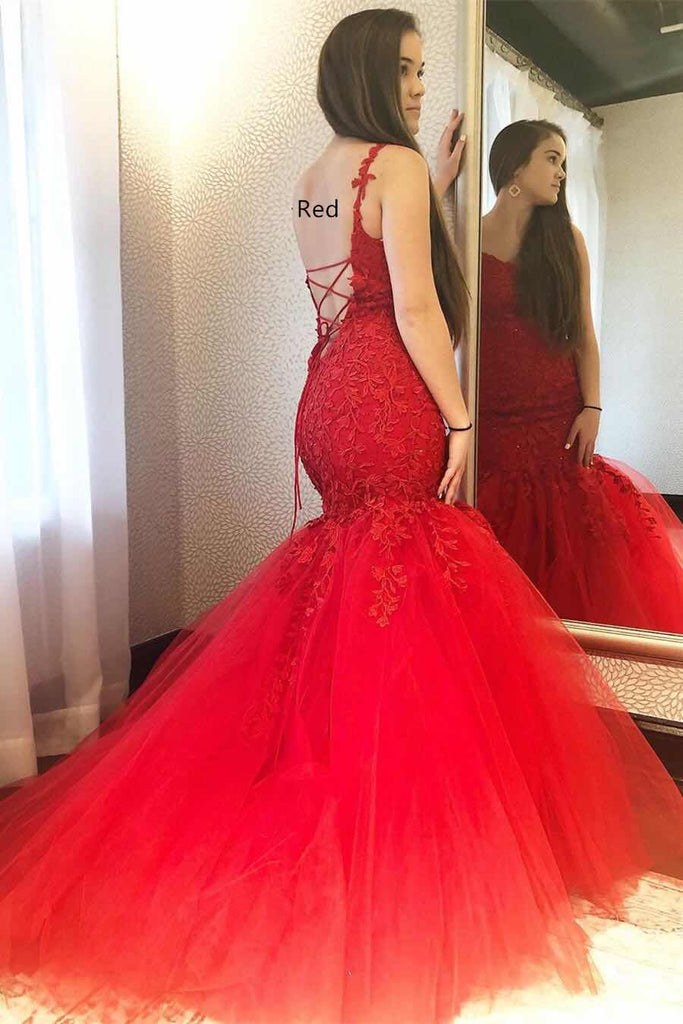 Charming Red Mermaid Spaghetti Straps Tulle Prom Dresses with Appliques PD03