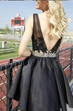 Black Lace Deep V-neck Backless Beading Short Homecoming Cocktail Dress PM672