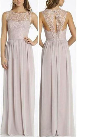 Round Neckline Illusion Lace Top Chiffon A-line Popular Open Back Bridesmaid Dresses PM515