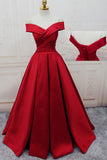 Gorgeous Red Off-the-Shoulder Floor-Length Satin Sweetheart Long Lace up Prom Dresses uk PM374