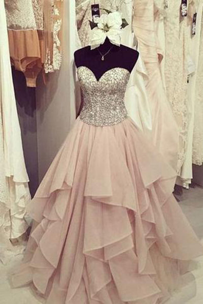Elegant chiffon tiered A-line sweetheart sequins long Prom dress,cute graduation dresses PH170