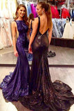 Gorgeous Sexy Scoop Neckline Backless Long Mermaid Sequin Prom Dresses uk PM683