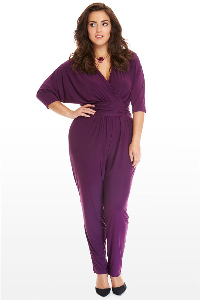Sexy V Neck 3/4 Sleeve Purple Formal Jumpsuit FP1131