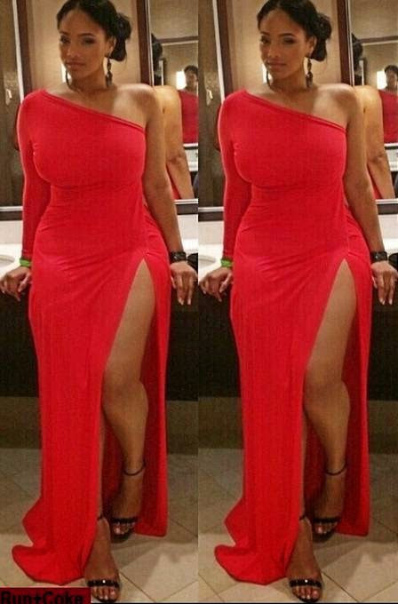 Red One Long Sleeve Mermaid Irregular Prom Dresses Cheap Formal Dresses P1221