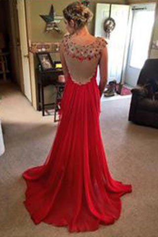 Red Beading Real Made Prom Dresses,Long Evening Dresses,Prom Dresses On Sale,L17