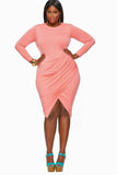 Long Sleeve Pink Sheath Prom Dresses Cheap Evening Dresses FP2517