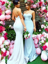 Sweetheart Sweep Train Open Back Mermaid Spaghetti Straps Bridesmaid Dress