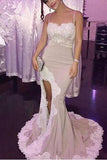Spaghetti White Lace Sexy Mermaid Side Slit Popular Cheap Prom Dresses,Bridesmaid Dress PM688