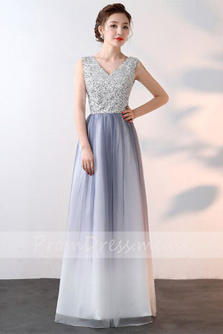 Elegant A-Line Ombre Tulle Beads V-Neck Sleeveless Open Back Prom Dresses UK PH536