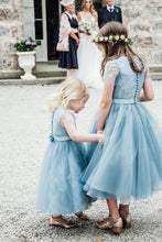 A-Line Mid-Calf Blue Lace Top Tulle Scoop Sleeveless Cheap Junior Flower Girl Dress PM528