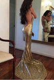 Sequin Mermaid Long Gold Sexy Deep V-Neck Spaghetti Strap Backless Sparkly Prom Dresses uk PM371