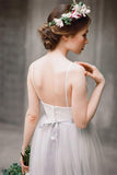 Spaghetti Straps Lace Top Light Grey A-line Tulle Simple Design Beach Wedding Dresses PM513