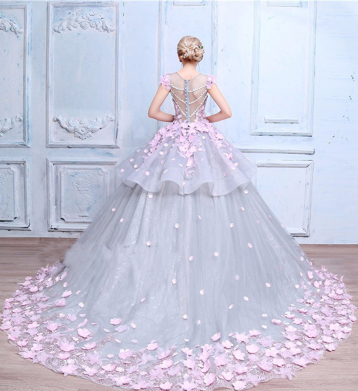 Scoop Ball Gown Gray Tulle Sleeveless Bowknot Empire Waist Wedding Dress with Pink Flowers PM576
