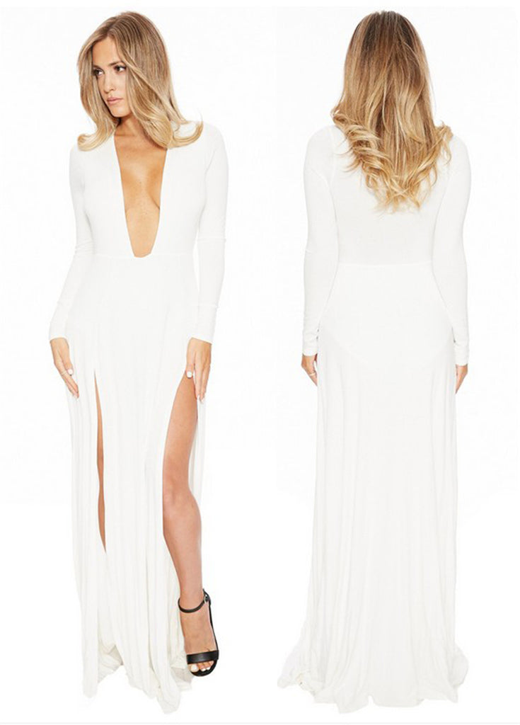 Long Sleeve White Deep V Neck Side Slit Long Prom Dresses, Evening Dresses FP2580