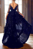 Elegant High Low Half Sleeves Sweetheart Black Backless Lace Evening Dresses uk PM820