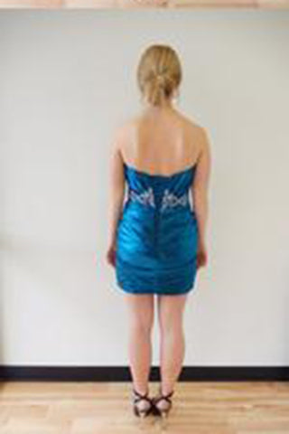 Sexy Satin Short Sweetheart Royal Blue Mermaid Strapless Pleat Homecoming Dresses PM797