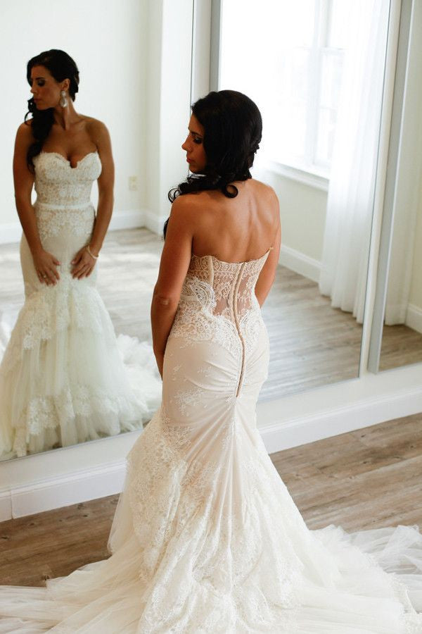 Sweetheart Mermaid Tiered Lace Wedding Dress Ruched Sweep Train Bridal Dresses PW386