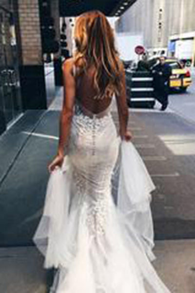 Luxurious Mermaid Long V-neck Wedding Dress with Open Back PH544
