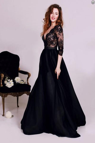 Black prom dress,A-line evening dresses,Long prom dress,Dress for Prom,prom dress,SVD304