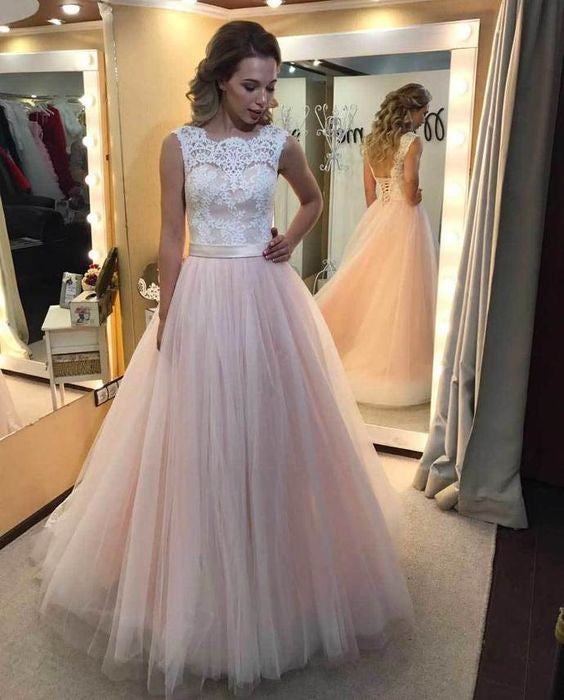 Charming Long Tulle Prom Dress With Laceelegant Formal Evening
