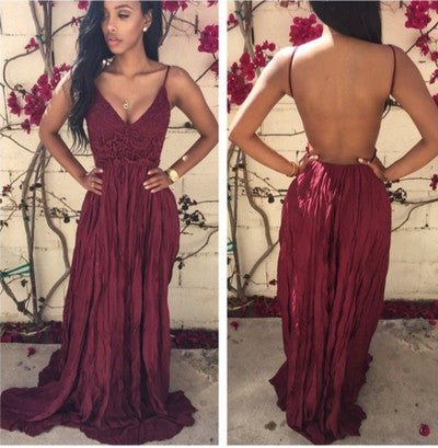 Simple Burgundy A-Line Chiffon Lace V-Neck Spaghetti Straps Backless Long Prom Dresses uk PH04