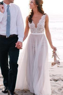 Beach New Style Elegant Modest V-Neck A-Line Backless Tulle Wedding Dresses PM199