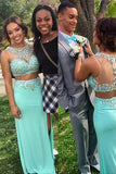 mint green long charming prom dress,two pieces prom dress,beaded evening dress,BD2884