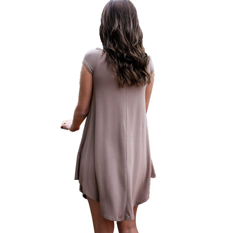 Cap Sleeve V Neck Loose Dresses, Casual Prom Dresses FP2570