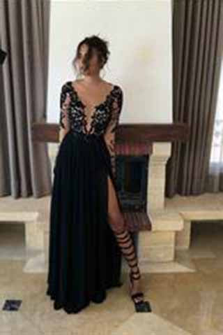 Sexy Black Long Sleeve Lace Slit V-Neck 2017 Prom Dress Evening Dresses PG341